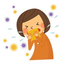 咳・くしゃみをする子供