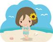 砂浜で微笑む水着の女性