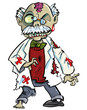 Cartoon zombie scientist with brains showing. Isolated on white