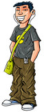 Cartoon teenage Asian boy with mp3 player and shoulder bag