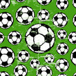 seamless background pattern, soccer balls, vector illustration