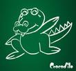 Vector image of a crocodile on the blackboard