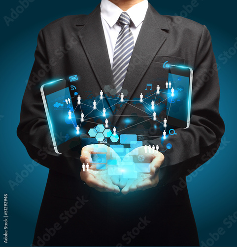 Technology business concept in hand