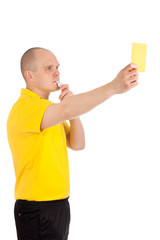 Football referee showing you the yellow card