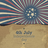Vintage 4th july poster with rays. Vector, EPS10