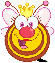Happy Queen Bee Cartoon Mascot Character