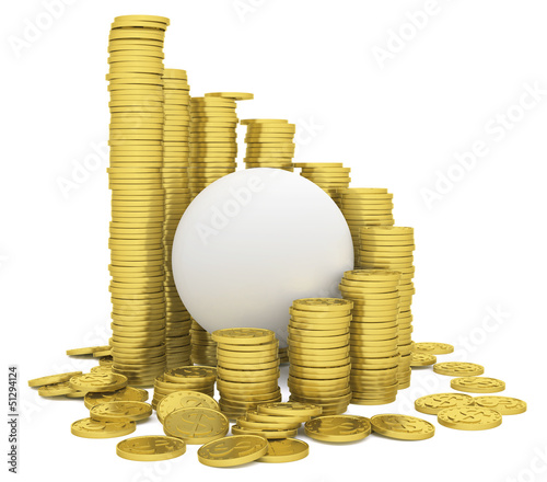 Sphere inside a stack of gold coins