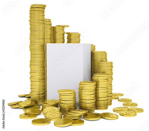 Cube inside a stack of gold coins