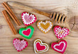 Valentines Day Heart Shaped Ginger Bread on wooden table