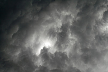 threatening black clouds in a gray sky threatening the storm