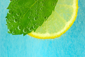 Lemon slice, mint leaf and soda