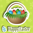 Easter card with basket and egg sticker