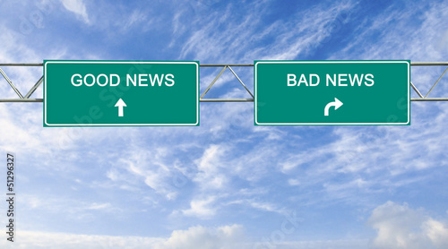 Road sign to good and bad news