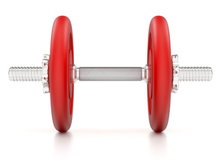 Red dumbbells on white background