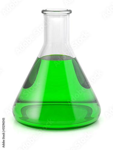 Chemical laboratory flask with green liquid isolated on white