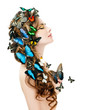 Beautiful Young Woman with Butterflies,