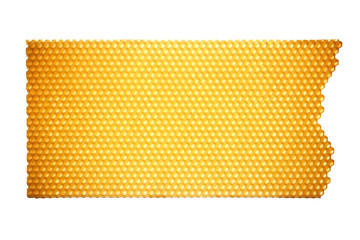 Piece of honeycomb isolated on white background