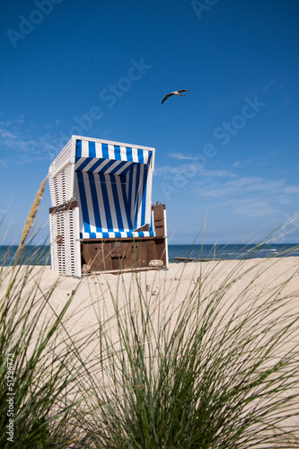 canvas print picture Strandkorb