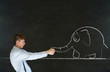 Man pulling on blackboard background elephant