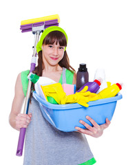 Girl  with detergents and mop