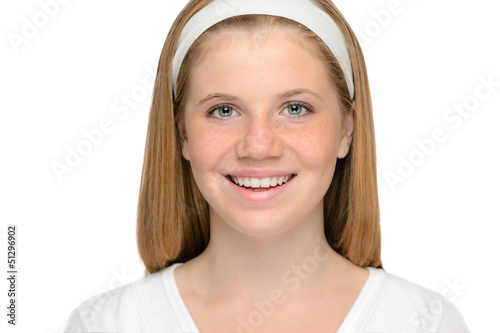 Teenager blonde girl cheerful smiling beauty face
