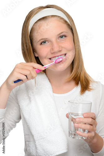 Dental hygiene brushing teeth young girl toothbrush