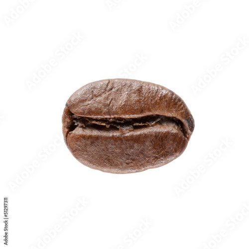 Single coffee bean isolated on white
