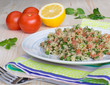 Tabouli with quinoa, tomatoes and herbs