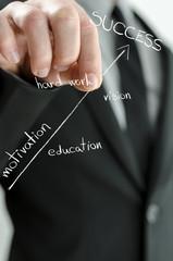 Businessman holding virtual arrow of success