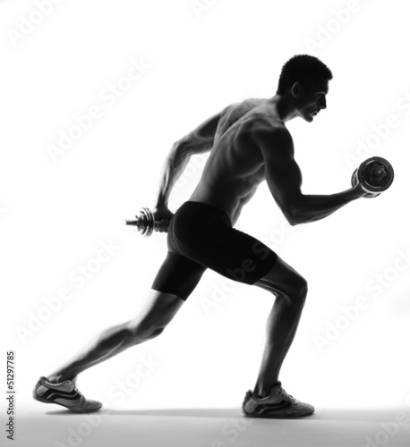 muscle model guy exercise over white background.