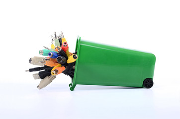 Recycle Bin filled with electronic waste