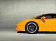 Yellow 3d concept sport car in a grungy cement scene