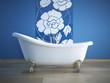 badewanne mit blauer fliesen wand