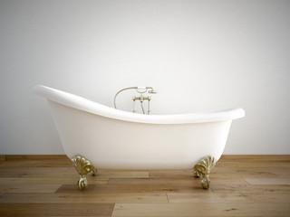 badewanne mit weißer wand