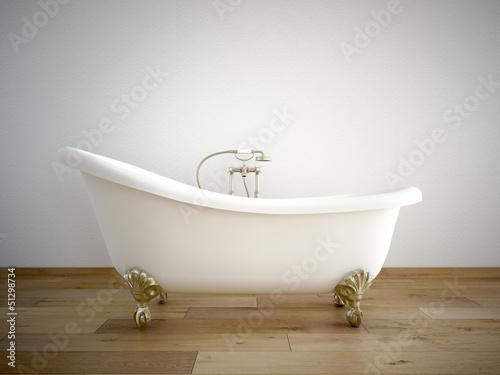 canvas print picture badewanne mit weißer wand