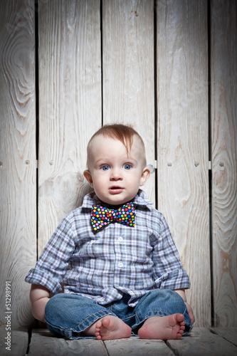 stylish kid in bow tie
