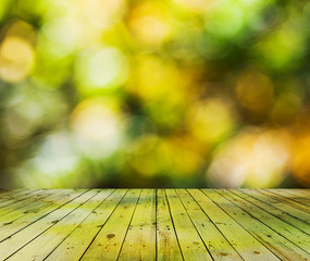 bright bokeh and wooden floor