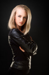 blonde in leather jacket