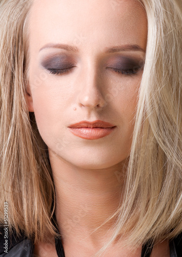 close up portrait of blond woman