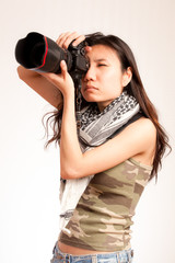 Asian serious photographer
