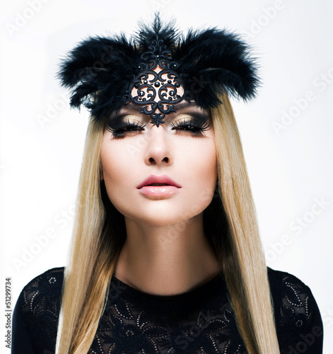 Charm. Blond Hair Woman with Plaits and Black Mask. Refinement
