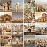 Collage vintage villes du monde