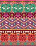 Seamless colorful aztec pattern with birds