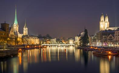 The skyline of Zurich at night