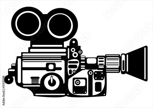 vector vintage film camera isolated on white background
