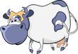 Happy blue cow. Cartoon