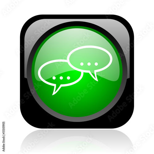 forum black and green square web glossy icon
