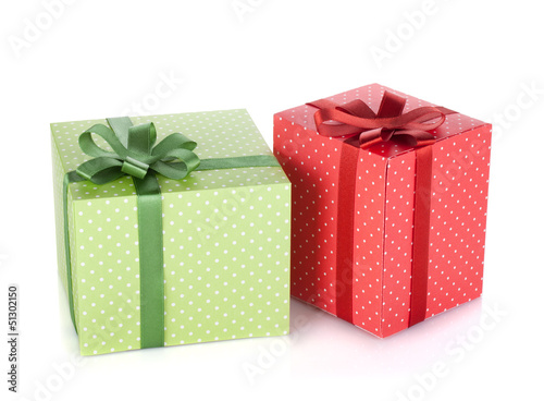 Two gift boxes with ribbon and bow