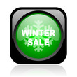 winter sale black and green square web glossy icon