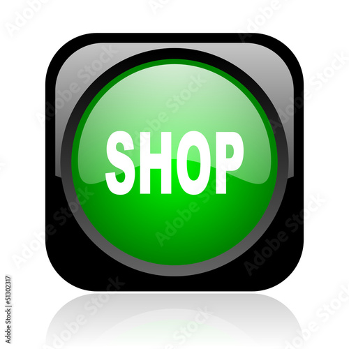 shop black and green square web glossy icon